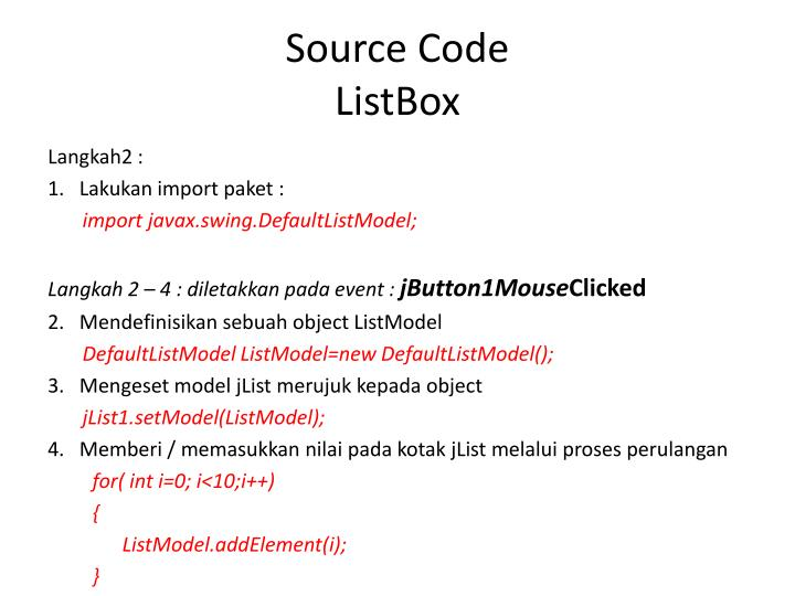 Source code listbox