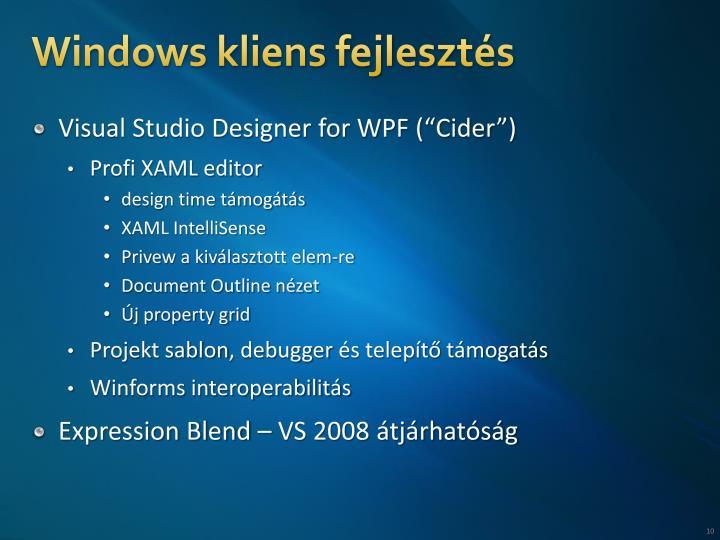 Windows kliens fejlesztés