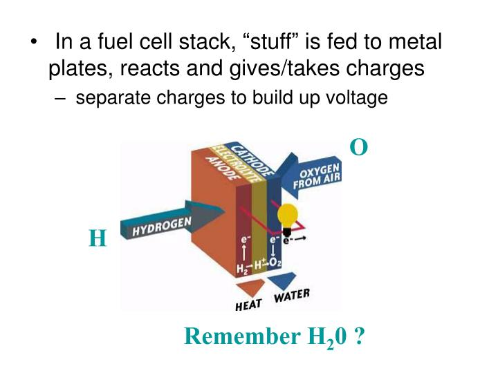 "In a fuel cell stack, ""stuff"" is fed to metal plates, reacts and gives/takes charges"