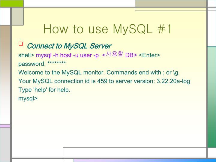 Connect to MySQL Server