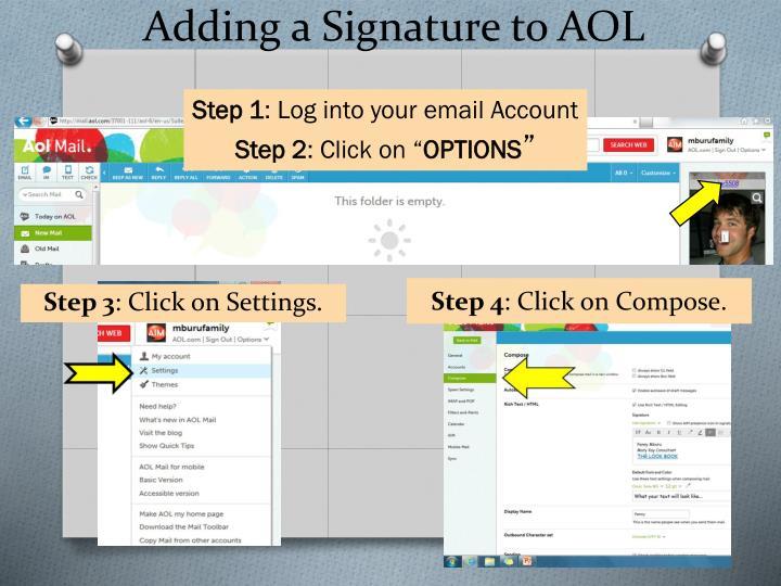 Adding a Signature to AOL
