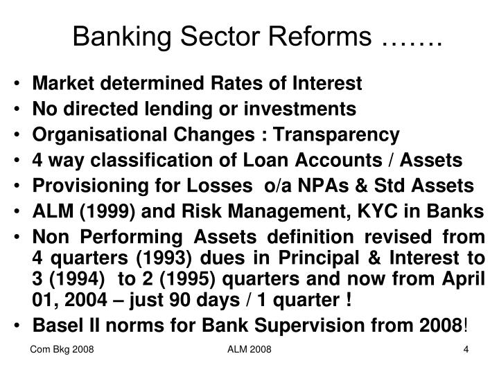 Banking Sector Reforms …….