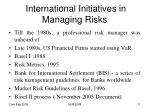 international initiatives in managing risks