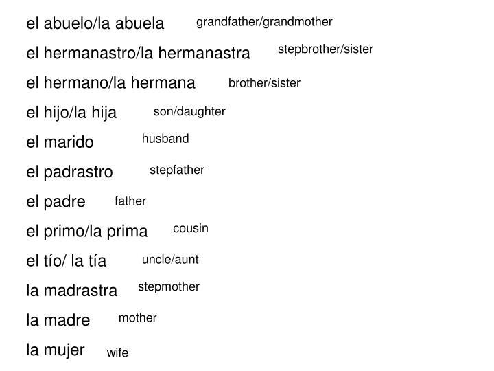 el abuelo/la abuela