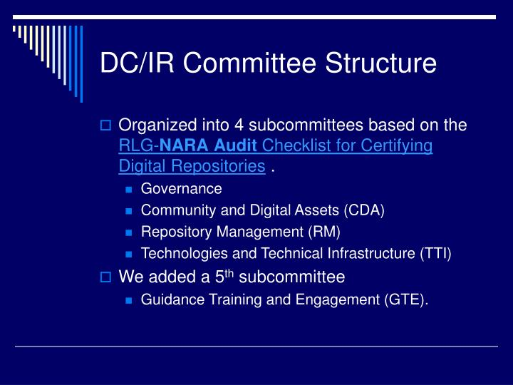DC/IR Committee Structure