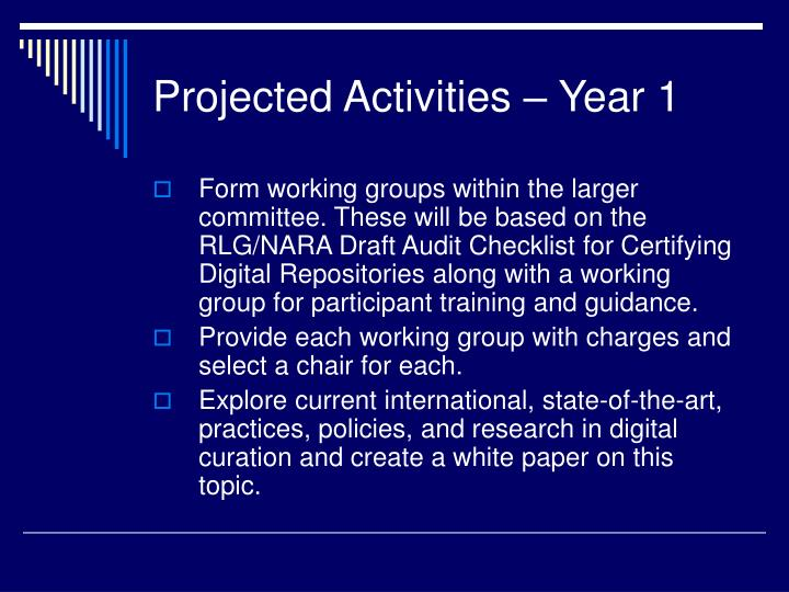 Projected Activities – Year 1