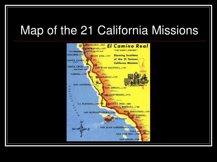 Map of the 21 california missions