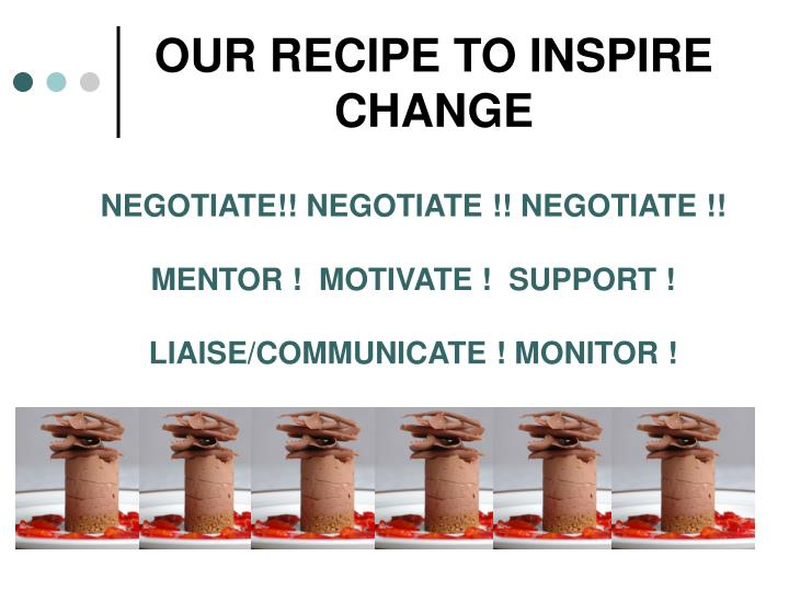 OUR RECIPE TO INSPIRE CHANGE