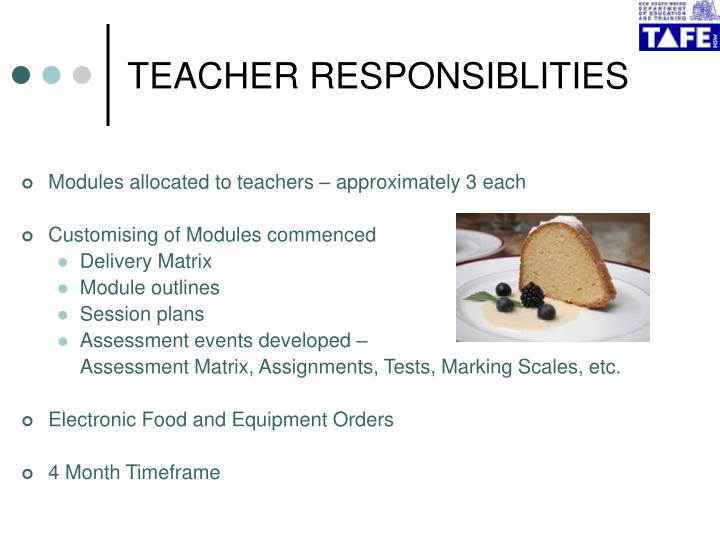TEACHER RESPONSIBLITIES