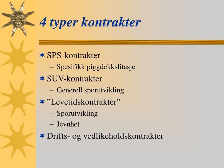 4 typer kontrakter