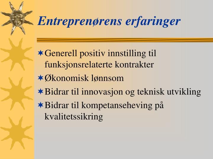 Entreprenørens erfaringer