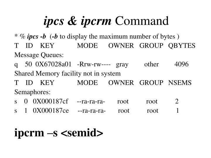ipcs & ipcrm