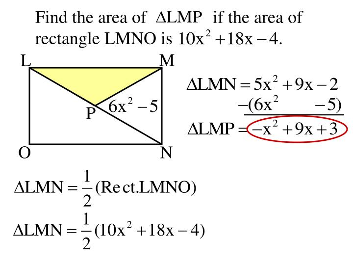 Find the area of               if the area of