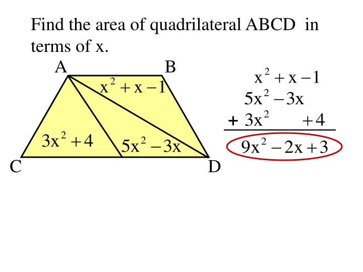 Find the area of quadrilateral ABCD  in
