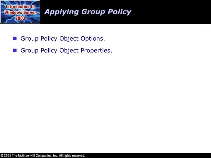 Applying Group Policy