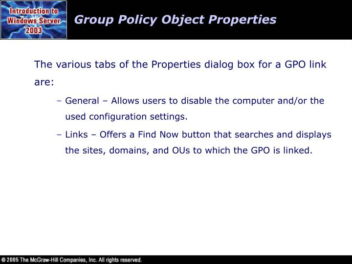 Group Policy Object Properties