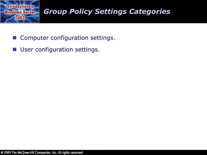Group Policy Settings Categories