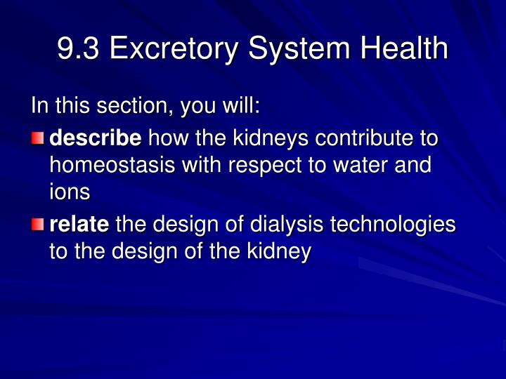 9.3 Excretory System Health