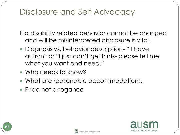 Disclosure and Self Advocacy