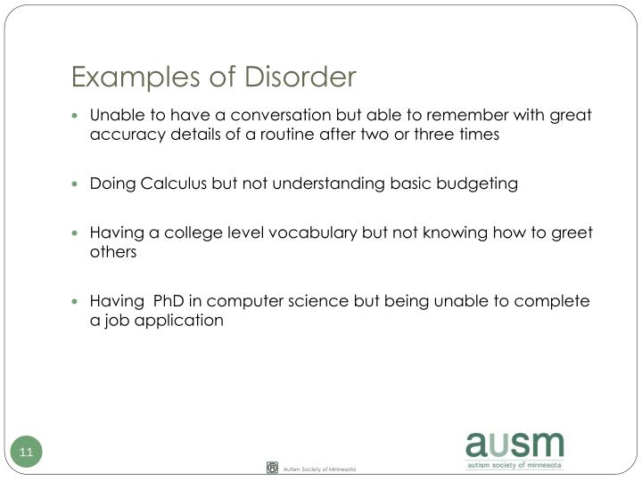 Examples of Disorder