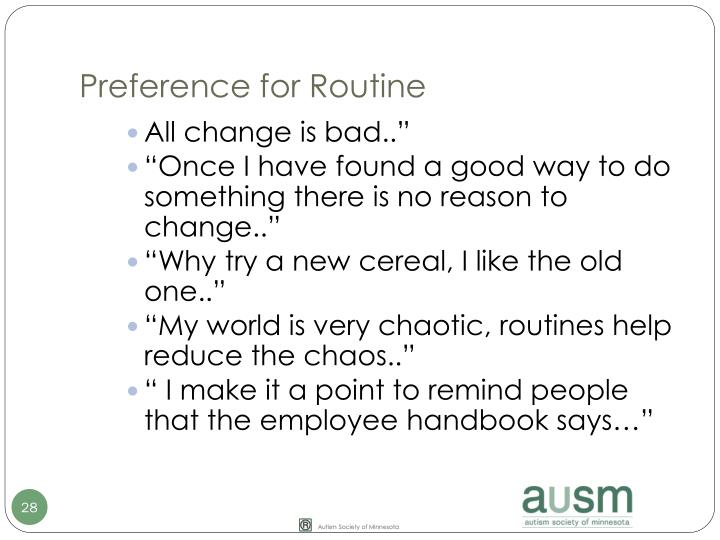 Preference for Routine