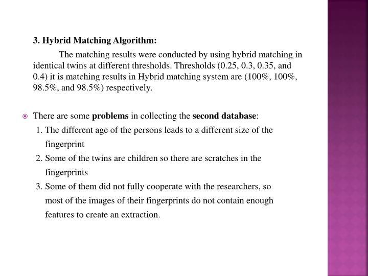 3. Hybrid Matching Algorithm: