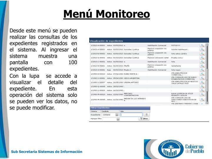 Menú Monitoreo