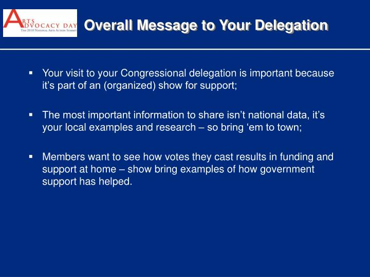 Overall Message to Your Delegation