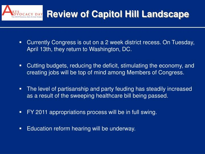 Review of Capitol Hill Landscape