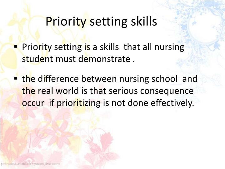 Priority setting skills