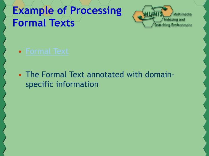 Example of Processing Formal Texts
