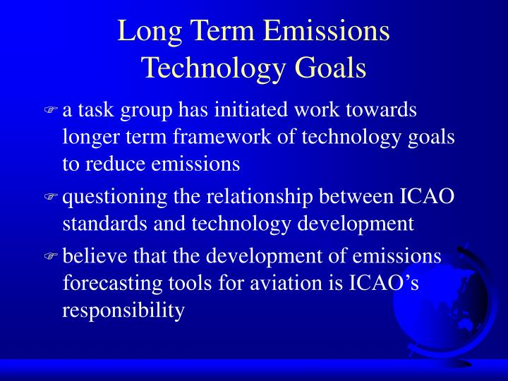 Long Term Emissions Technology Goals