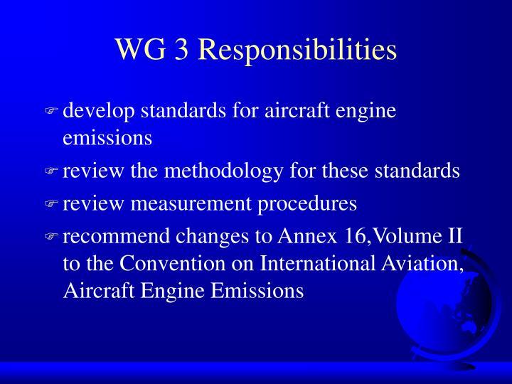 WG 3 Responsibilities