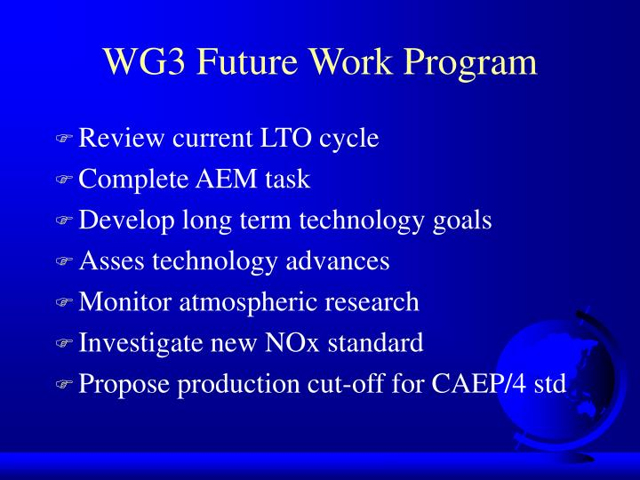 WG3 Future Work Program