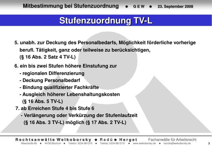 Stufenzuordnung TV-L