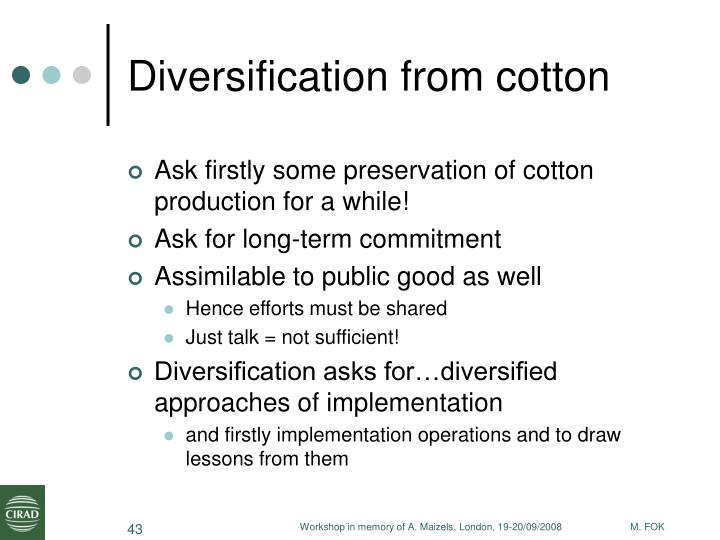 Diversification from cotton