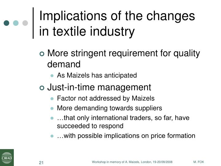 Implications of the changes in textile industry