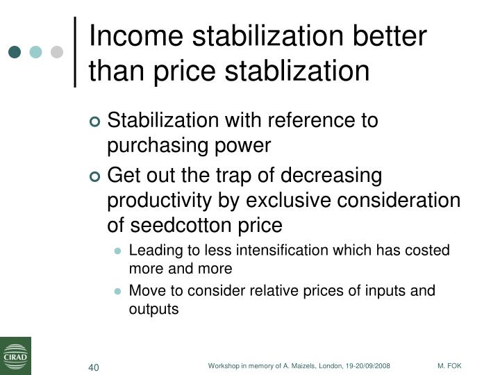 Income stabilization better than price stablization