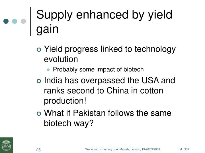Supply enhanced by yield gain