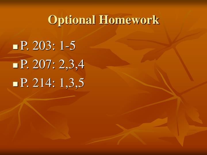 optional homework