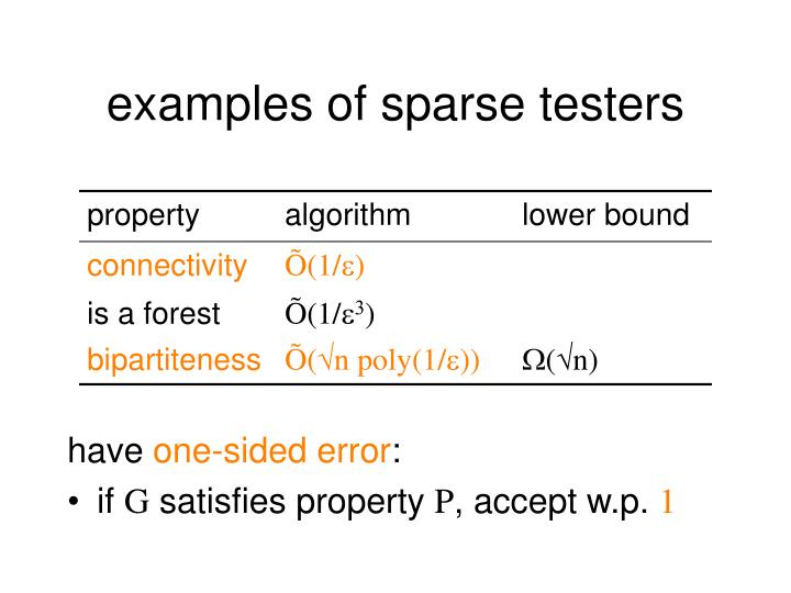 examples of sparse testers