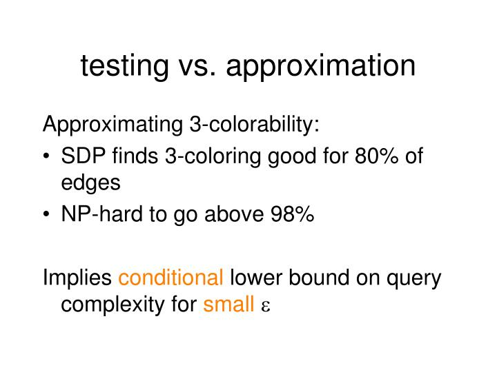 testing vs. approximation