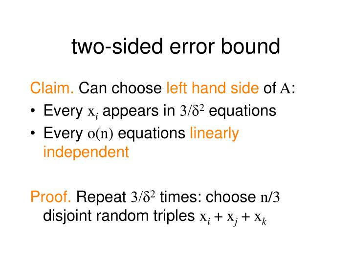 two-sided error bound