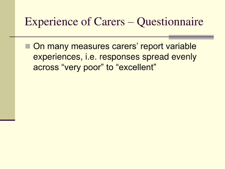 Experience of Carers – Questionnaire