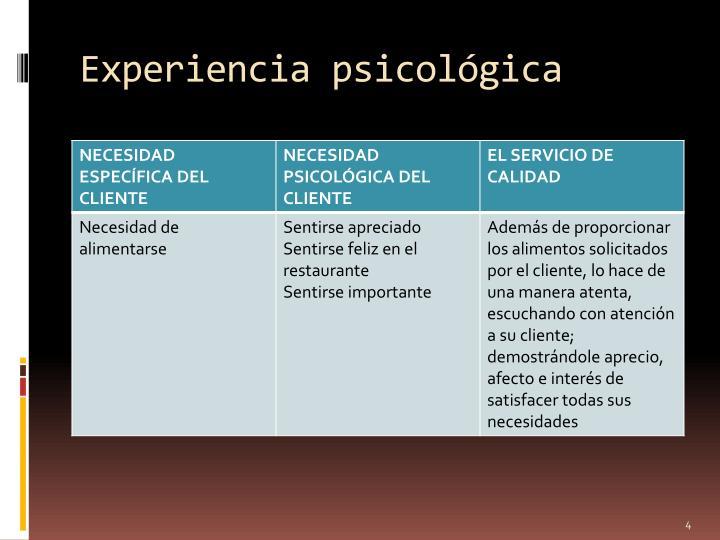 Experiencia psicológica
