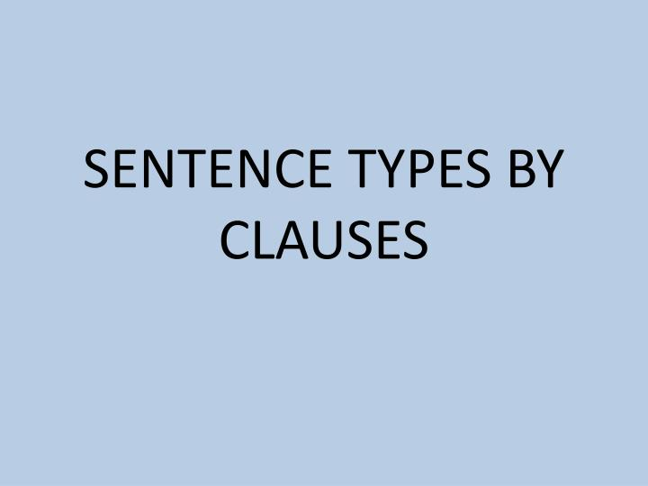 Sentence types by clauses