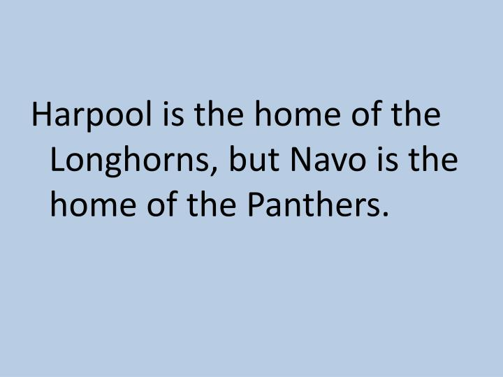 Harpool is the home of the Longhorns, but Navo is the home of the Panthers.