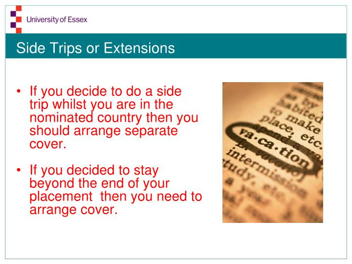 Side Trips or Extensions