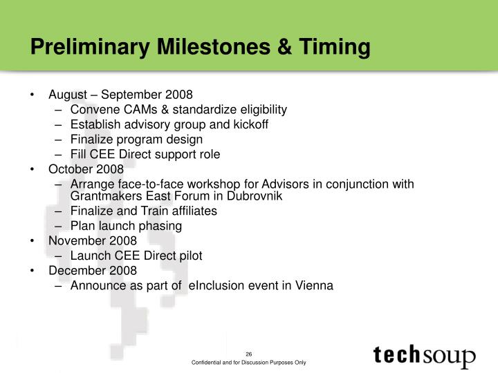 Preliminary Milestones & Timing