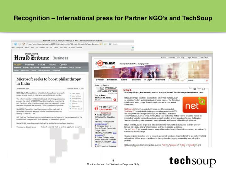 Recognition – International press for Partner NGO's and TechSoup